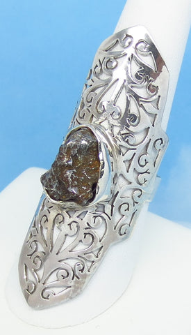 "Size 8-1/2 Meteorite Ring - Campo del Cielo - Argentina - Sterling Silver - 2-3/16"" Tall - Filigree - Boho - Gothic Ring - 162508"