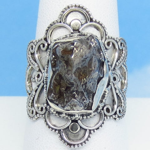 "Size 9-1/4 Meteorite Ring - Campo del Cielo Argentina - Sterling Silver - 1-1/8"" Tall - 14 x 10mm Meteorite - Boho Gothic Filigree - 26-01"
