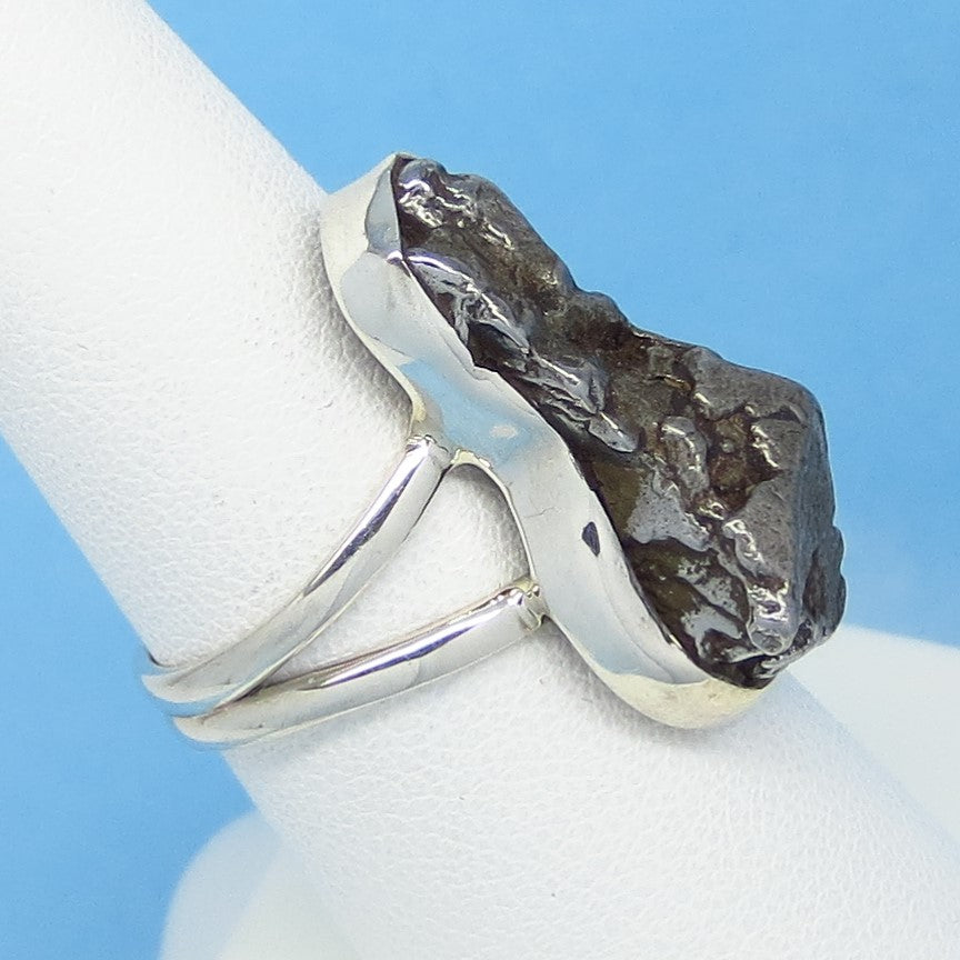 Argentina Iron Meteorite 16-03 Celestial Genuine Natural Real Campo del Cielo Sterling Silver Size 6 Meteorite Ring