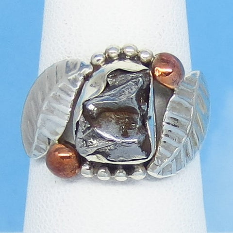 Size 7 Meteorite Ring - Campo del Cielo - Argentina - Sterling Silver - Genuine Natural Real - Celestial - Woodland - Leaf Ring 16-07