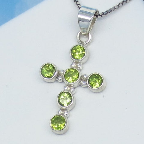 Small Natural Peridot Cross Pendant Necklace Sterling Silver Artisan 181253