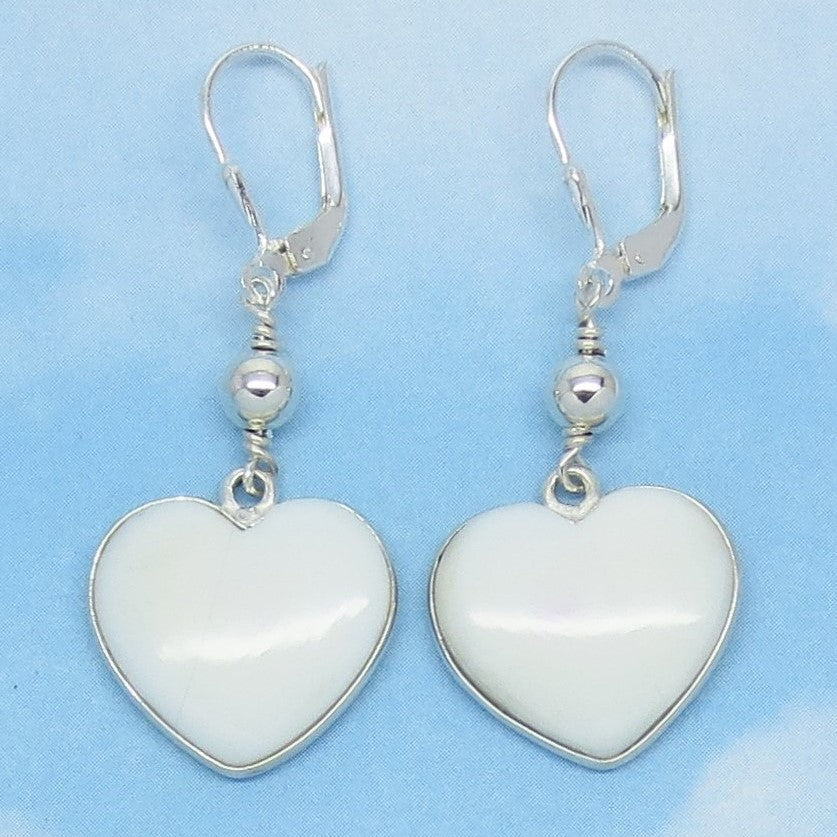 Natural Opaque White Opal Heart Earrings - 925 Sterling Silver - Leverback Dangle - Beaded - Boho - Genuine Nevada - 261353