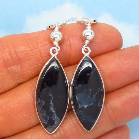 Rare Natural Pietersite Earrings - Leverback Dangle - 925 Sterling Silver - Marquise - Beaded Boho - Genuine - 262303