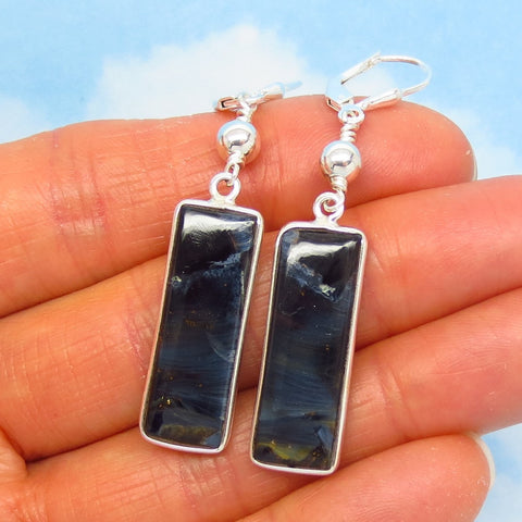 "2-1/4"" Rare Natural Pietersite Earrings - Leverback Dangle - 925 Sterling Silver - Rectangle Geometric - Beaded Boho - Genuine - 262306"
