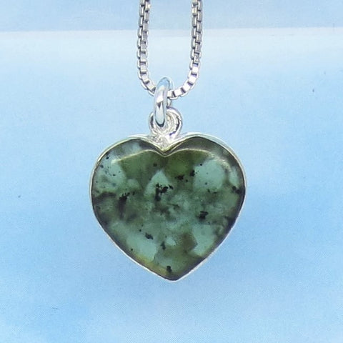 Tiny Natural Nephrite Jade Heart Pendant Necklace - 925 Sterling Silver - Genuine Green Canadian Jade - Small Dainty Minimalist Boho 260801