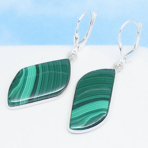 "1-3/4"" Natural Malachite Earrings 925 Sterling Silver Leaf Shape Marquise Genuine Boho Green Stripe Earrings Green Onyx - 261736 bg"