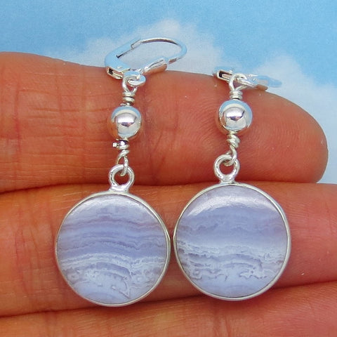 "Dainty 1-3/4"" Blue Lace Agate Earrings 925 Sterling Silver - 16mm Round Disk - Natural Minimalist Boho Blue Stripe - Leverback Dangle 261551"