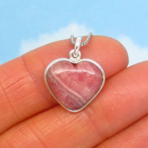 Tiny Rhodochrosite Heart Pendant Necklace - 925 Sterling Silver - Natural Genuine Argentina - Dainty Small Minimalist - Pink Boho rh260601