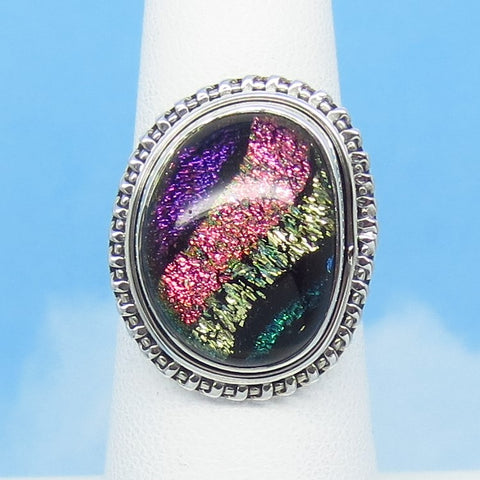 Size 6 Dichroic Glass Ring - 925 Sterling Silver - Fused Glass - Purple Copper Gold Green Black - Abstract - Artist Gift - jy151301