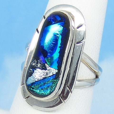 Size 6-1/2 Dichroic Glass Ring - 925 Sterling Silver - Fused Glass - Blue Green Silver - Abstract - Artist Gift - jy161510