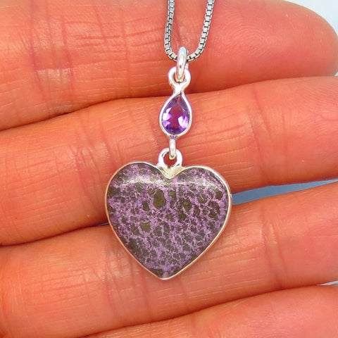 Small Very Rare Natural Purpurite Heart Pendant Necklace - 925 Sterling Silver - Genuine Purpurite & Purple Amethyst - ph261001