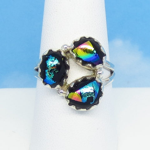 Size 8-3/4 Dichroic Glass Ring - 925 Sterling Silver - Fused Glass - Aqua Peach Blue Green Gold - Abstract - jy151305