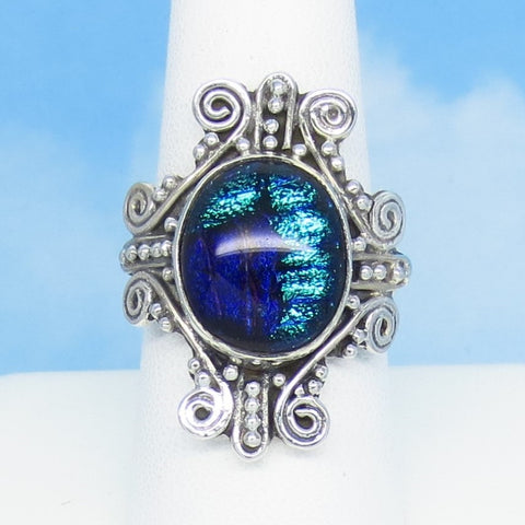Size 9 Dichroic Glass Gothic Cross Ring - 925 Sterling Silver - Fused Glass - Aqua Purple Black Blue - Large Filigree Ring - Cross Design - jy131516
