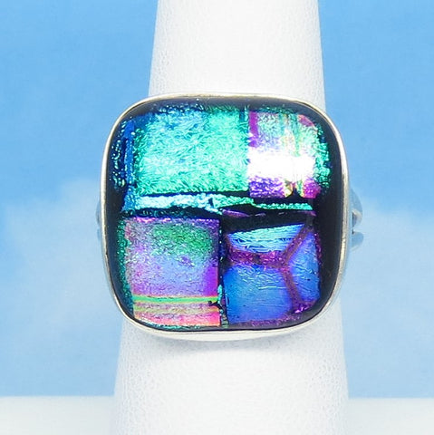 Size 8-3/4 Dichroic Glass Ring - 925 Sterling Silver - Fused Glass - Geometric - Aqua Pink Green Purple Blue - Wearable Modern Art - Artist Gift - jy161006