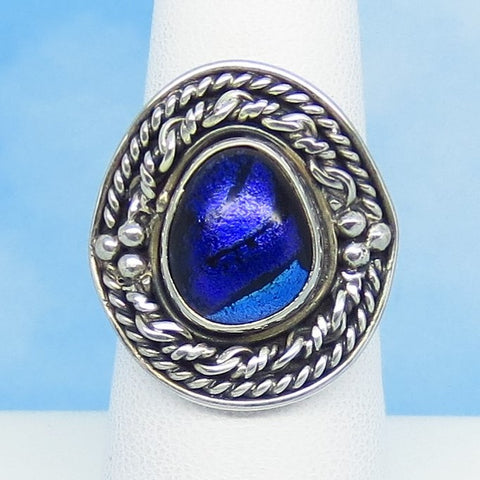 Size 7 Dichroic Glass Ring - 925 Sterling Silver - Fused Glass - Purple Blue - Artist Gift - Boho - Filigree - Pear - jy151312