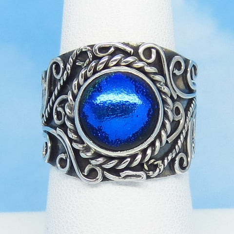Size 7 Dichroic Glass Ring - 925 Sterling Silver - Blue - Filigree - Boho - Artist Gift - Wide Band Cigar Band - Gothic Ring