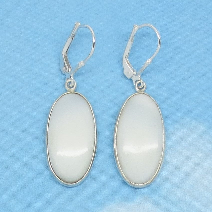 Natural Opaque White Opal Earrings - 925 Sterling Silver - Leverback Dangle - Long Oval - Genuine Nevada - 261153ov