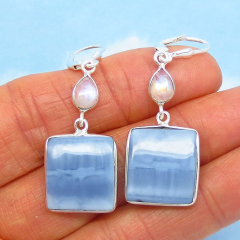 Blue Owyhee Opal Earrings - Leverback Dangle - 925 Sterling Silver - Natural Idaho Opal - Square Blue Stripe - Moonstone - Boho - 261496
