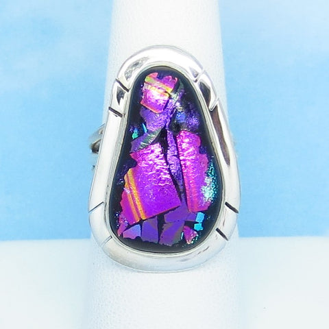 Size 7-1/4 Dichroic Glass Ring 925 Sterling Silver Fused Glass - Fuchsia Hot Pink Purple Black- Wearable Modern Art - Artist Gift - jy161508