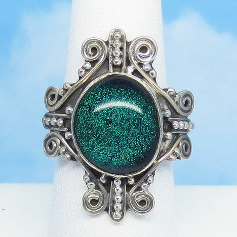 Size 8 Teal Blue Dichroic Glass Ring - 925 Sterling Silver - Fused Glass - Large Filigree Ring - Cross Design - jy151313