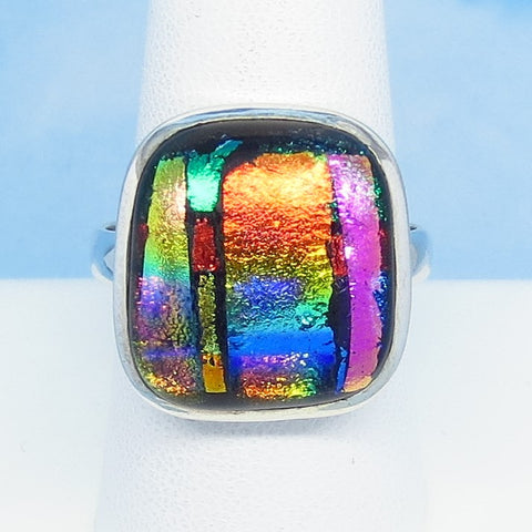Size 11 Dichroic Glass Ring - 925 Sterling Silver Fused Glass - Orange Pink Aqua Green Blue - Square - Wearable Modern Art - Artist Gift