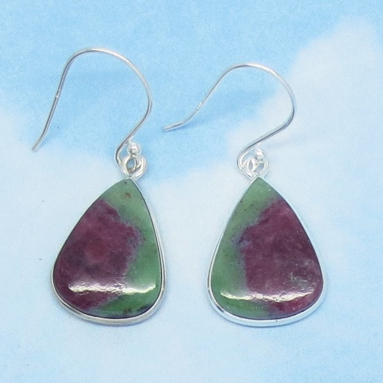 Natural Ruby Zoisite Earrings - 925 Sterling Silver - Dangle - Pear Shape Trillion Triangle - Genuine African Ruby - Boho - 261252