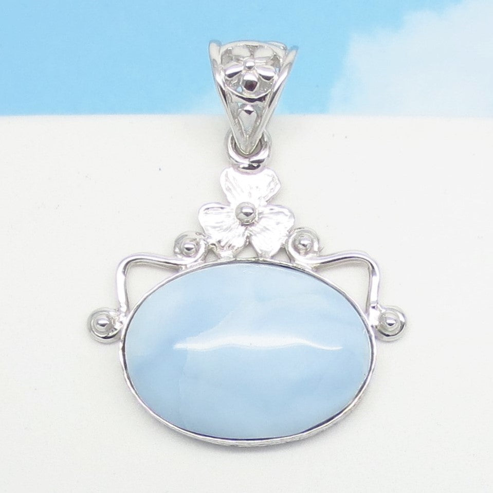 Almost White - Very Pale Blue Owyhee Opal Pendant Necklace - 925 Sterling Silver - Natural Genuine Opal from Idaho - Flower East West Horizon 171406