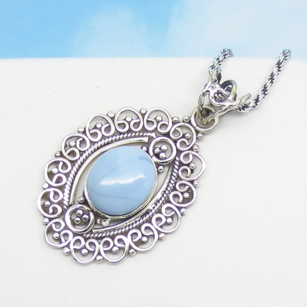 Owyhee Opal Pendant Necklace - 925 Sterling Silver - Soft Pale Blue Opal from Idaho - Boho - Filigree - 171202oo