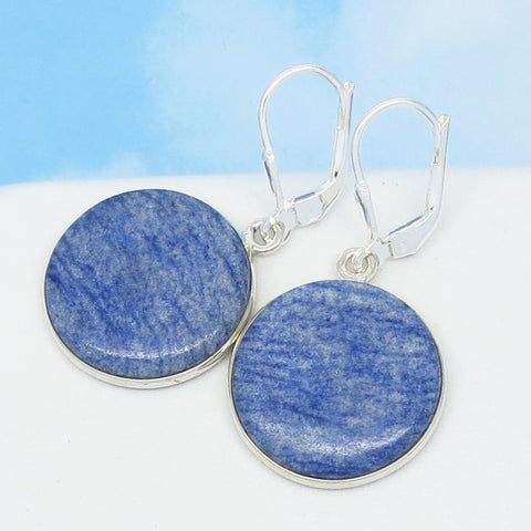 Very Rare Dumortierite Earrings - Natural Blue Quartz - 925 Sterling Silver Leverback Dangle - 19mm Round Disk - Denim Blue Boho - 262435