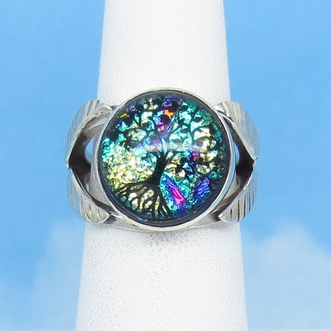Size 5-3/4 Dichroic Glass Ring - 925 Sterling Silver - Aqua Blue Gold Pink - Round - Tree of Life - Celtic - Artist Gift - jy161866