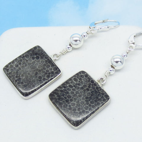 Rare Natural Black Fossil Coral Earrings - Leverback Dangle - Square Geometric Boho Beaded - Genuine - 925 Sterling Silver - 261735