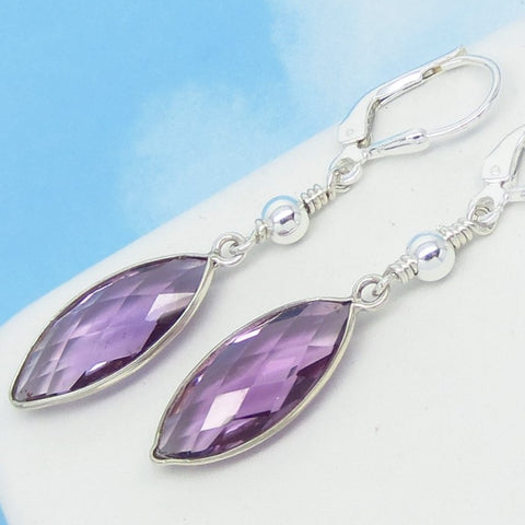 3.05ctw Natural Brazilian Amethyst Earrings Leverback Dangle 925 Sterling Silver Marquise Beaded Boho Purple Genuine 261735