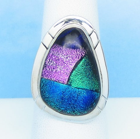 Size 6-3/4 Dichroic Glass Ring 925 Sterling Silver Fused Glass - Pink Green Blue Purple - Wearable Modern Art Artist Gift - Large - jy161509