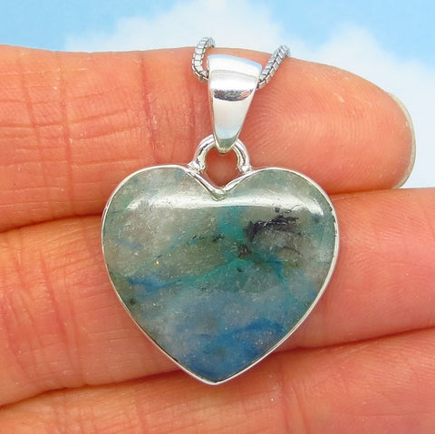 Rare Quantum Quattro Heart Pendant Necklace - 925 Sterling Silver - Genuine - Natural - Heart Chakra - h282006