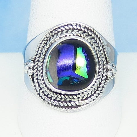 Size 11 Dichroic Glass Ring 925 Sterling Silver Fused Glass - Lime Green, Purple & Black - Wearable Modern Art - Artist Gift - Boho - jy151308