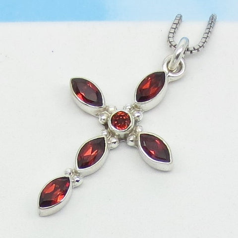 "1-1/8"" Natural Garnet Cross Pendant or Necklace - 925 Sterling Silver - Marquise Gemstones - Genuine Garnet - 161308"