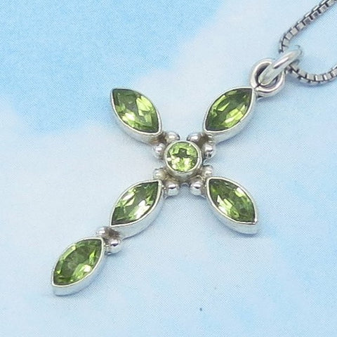 Natural Peridot Cross Pendant or Necklace - 925 Sterling Silver - Genuine - Simple - Minimalist - P200750