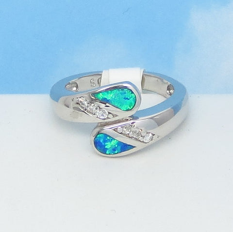 Size 5 Lab Opal Ring - 925 Sterling Silver - Inlay Bypass Ring - Cubic Zirconia CZ Accents - Blue Green