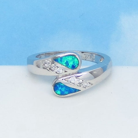 Size 6-1/4 Lab Opal Ring - 925 Sterling Silver - Inlay Bypass Ring - Cubic Zirconia CZ Accents - Blue Green