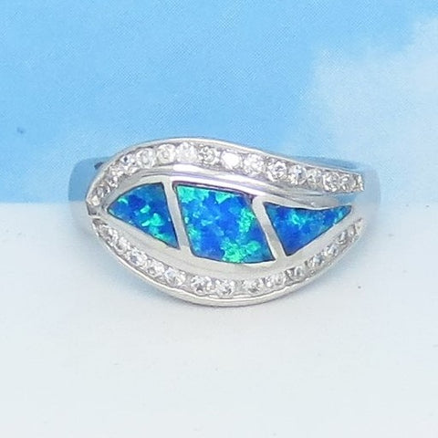 Size 6 Lab Opal Ring - 925 Sterling Silver - Inlay - Inlaid - Wave Swirl Leaf Shape Ring - Cubic Zirconia CZ Accents - Blue Green