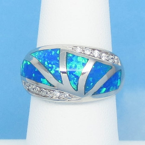 Size 6-1/4 Lab Opal Ring - 925 Sterling Silver - Inlay - Inlaid - Sunburst Dome Band Ring - Cubic Zirconia CZ Accents - Blue Green 991893