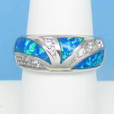 Size 8-1/4 Lab Opal Ring - 925 Sterling Silver - Inlay - Inlaid - Sunburst Dome Band Ring - Cubic Zirconia CZ Accents - Blue Green 991893
