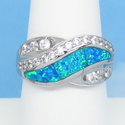 Size 8-1/4 Lab Opal Ring - 925 Sterling Silver - Inlay - Inlaid - Wave Swirl Band Ring - Cubic Zirconia CZ Accents - Blue Green 991893