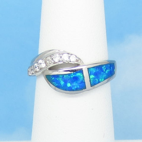 Size 5-1/4 Lab Opal Ring - 925 Sterling Silver - Inlay - Inlaid - Wave Swirl Ring - Cubic Zirconia CZ Accents - Blue Green