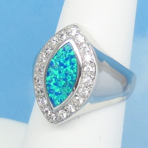 Size 6 Lab Opal Ring - 925 Sterling Silver - Inlay Inlaid - Marquise Statement Ring - Halo - Cubic Zirconia CZ Accents - Blue Green 991897