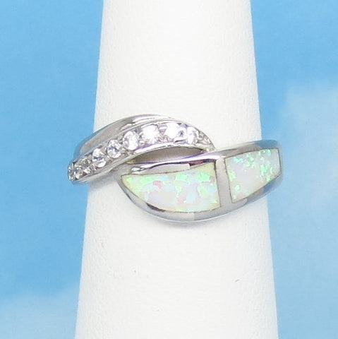 Size 5 Lab Opal Ring - 925 Sterling Silver - Inlay - Inlaid - Wave Swirl Ring - Cubic Zirconia CZ Accents - White Fire Opal