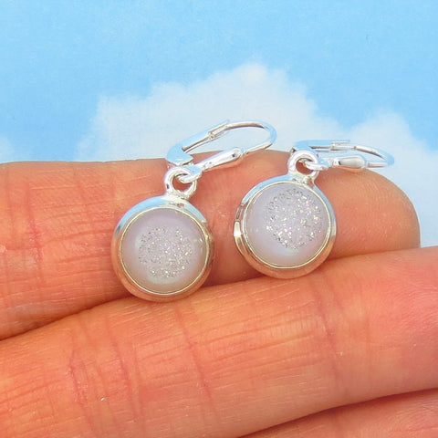 Pale Gray Druzy Quartz Earrings Leverback Dangle 925 Sterling Silver - 11mm Round - Small Dainty - Genuine Natural - Angel Aura Boho 001608