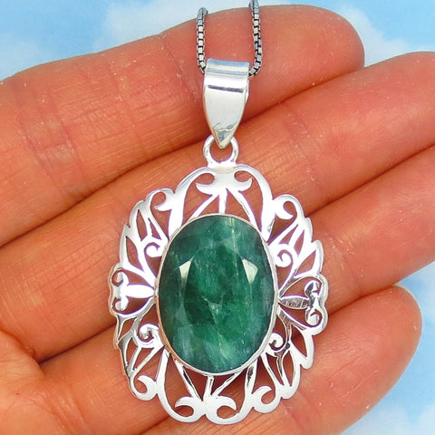 11.6ct Natural Emerald Pendant Necklace - 925 Sterling Silver - Jali Filigree - Oval - Large - Raw Emerald - Genuine Emerald - sa171164