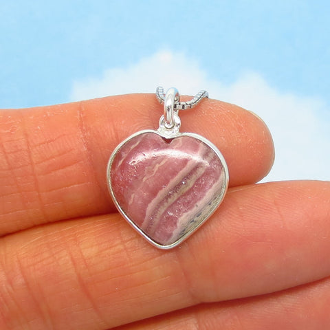 Small Rhodochrosite Heart Pendant Necklace - 925 Sterling Silver - Natural Genuine Argentina - Dainty Minimalist - Pink Boho rh260606