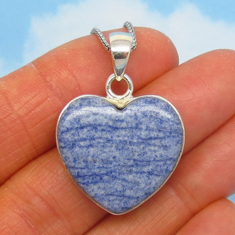 Rare Dumortierite Heart Pendant Necklace - 925 Sterling Silver - Natural Blue Quartz - Denim Blue - d261701